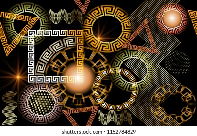 Geometric glowing 3d greek vector seamless pattern. Modern abstract shiny background with geometric shapes, circles, triangles, squares, zigzag. Greek key meander ornaments with illuminated effect.