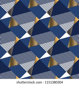 Geometric gold and blue luxury seamless pattern for background, wrapping paper, fabric, surface design. Stock vector surface design.