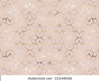 Geometric gold glitter flowers lattice seamless pattern.