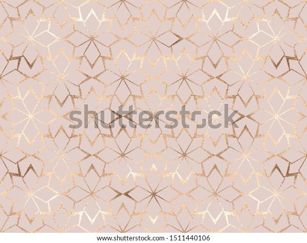 Geometric gold glitter flowers lattice seamless pattern.
