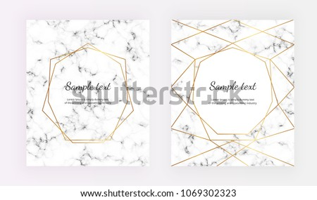geometric gold line frame on marble stock vector royalty free