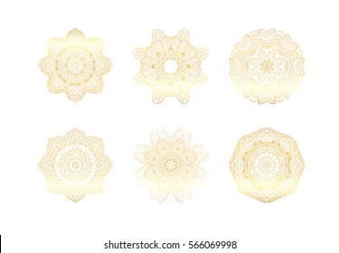 Geometric gold mandala. Vector ornamental border frame. Indian Asian Arabic ottoman motif. round ornament.