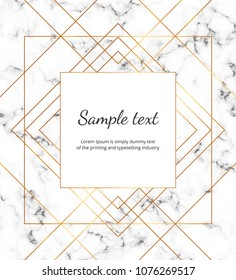 Geometric golden lines on the marble texture. Modern minimalist placard, frame design. Template for invitation, card, social media, wedding, baby shower, banner, poster, party, flyer