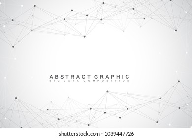 Geometric graphic background communication. Big data complex with compounds. Perspective backdrop. Minimal array. Digital data visualization. Scientific cybernetic vector illustration