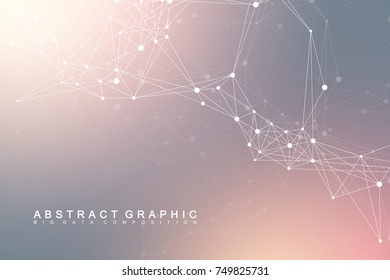 Geometric graphic background communication. Global network connections. Wireframe complex with compounds. Perspective backdrop. Digital data visualization. Scientific cybernetic vector