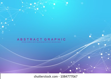 Geometric graphic background molecule and communication. Big data complex with compounds.
