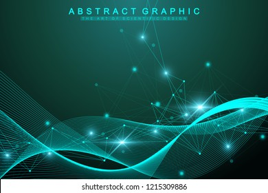 Geometric graphic background molecule and communication. Big data complex with compounds. Artificial Intelligence and Machine Learning Concept. Wave flow. Scientific cybernetic vector illustration.
