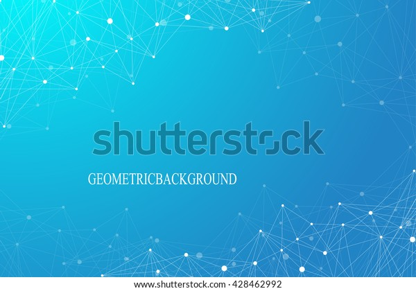 Geometric graphic background molecule and communication. Connected lines with dots. Minimalism chaotic illustration background. Concept of the science, chemistry, biology, medicine, technology.