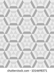 Geometric gray hexagon seamless pattern, vector