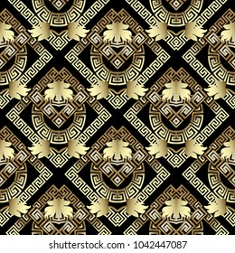 Geometric greek key seamless pattern. Floral background with gold 3d meanders, frames, circles, rhombus, baroque style leaves. Modern abstract ornaments. Vector surface design for wallpaper, fabric