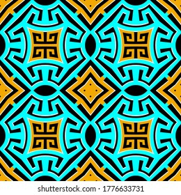 Geometric greek seamless pattern. Vector ornamental elegant background. Tribal ethnic style repeat backdrop. Greek key meanders trendy ornaments. Colorful abstract modern design. Abstract shapes.