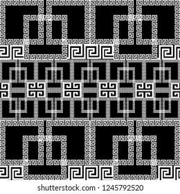 Geometric greek vector seamless border pattern. Ornamental black and white ornate background. Geometry repeat checkered backdrop. Greek key meanders ornament with geometrical shapes, borders, squares