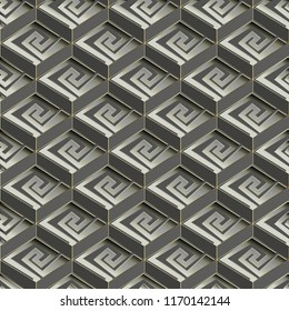 Geometric greek vector seamless pattern. Monochrome abstract paterned background. Creative modern decorative design. Tiled geometry ornaments with grekk key, meanders, 3d cubes.