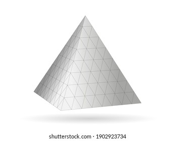 Geometric grid pyramid. Gray 3d triangle with monochrome mathematical digital network tracery creative polygonal vector structure.
