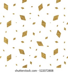 Geometric grunge gold seamless pattern of rhomb confetti on white background, hand painted seamless background of golden glitter rhombus, vector shiny design for textile, wallpaper, wrapping, paper