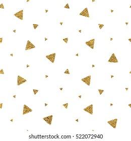 Geometrisches, nahtloses Muster der goldglänzenden Dreieckskonfetti auf weißem Hintergrund, handgezeichnet, goldener Hintergrund des Trigons, Vektorglänzendes Design für Textilien, Tapete, Verpackung, Papier