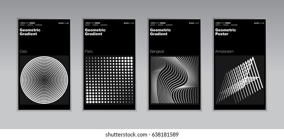 Geometric halftone gradients. Minimal cover design backgrounds. Abstract shapes. Vector illustration