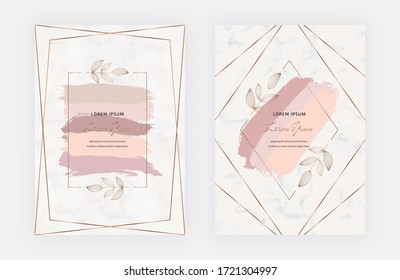 Geometric hand drawn botanical frames with leaves and peach brush stroke on the marble texture. Modern template for wedding invitation, greeting, banner, flyer, poster, save the date