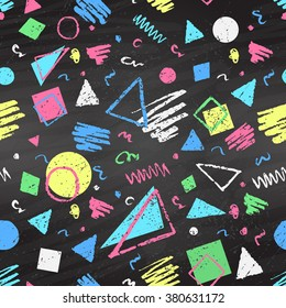 Geometric hand drawn grunge color chalked seamless pattern with triangles, squares and circles on black chalkboard background.