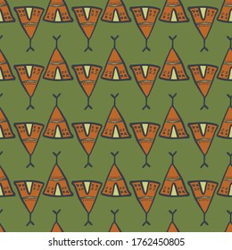 Geometric hand drawn teepee seamless pattern on green background. Doodle style. Tribal wallpaper. Decorative backdrop for fabric design, textile print, wrapping, cover. Vector illustration