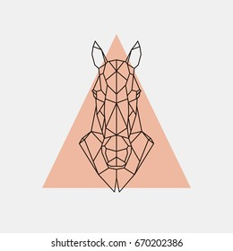 Geometric head horse. Horse sign. Vector illustration.