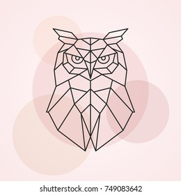 Geometric head of an owl. Abstract vector illustration of a wild bird.