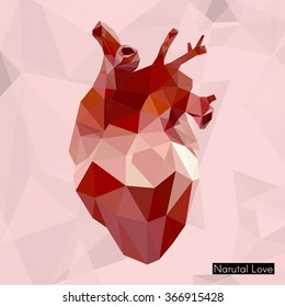Geometric heart isolated vector vintage design element image