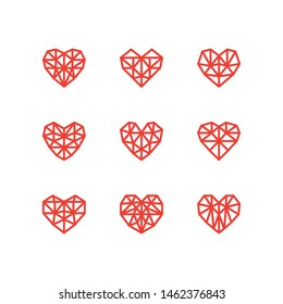 Geometric Heart Shapes Collection. Set of Heart Logos in Vector. Heart Logo Symbol and Icons