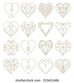 Geometric Heart Shapes Collection. Set of Heart Logos in Vector. Heart Logo Symbol and Icons.