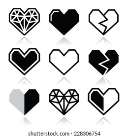 Geometric heart for Valentine's Day icons - love concept