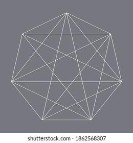 Geometric heptagon polygon with diagonal angles drawn. Geometry vector design shape, element
