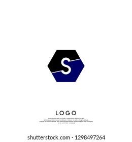 geometric hexagon black and blue S logo letter design concept