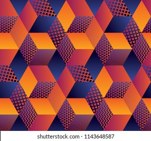 Geometric hexagon bright seamless motif for background, wrapping paper, fabric, surface design. Repeatable pattern stock vector illustration