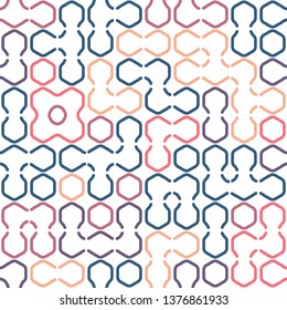Geometric hexagon forms bright beautiful colors vector seamless pattern. Hexa combination. Abstract background for fabric