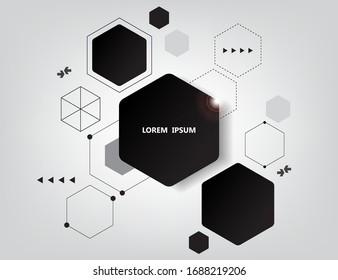 geometric hexagon infographic vector design.