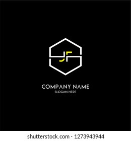 geometric hexagon jf logo type design concept in yellow and white colors