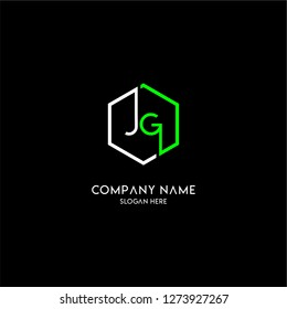 geometric hexagon jg logo type design concept in white and green colors