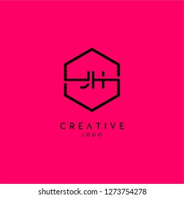 geometric hexagon jh logo type design concept in neon red background color