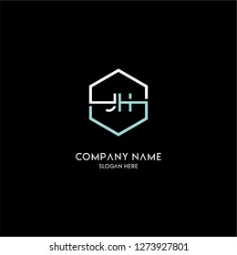geometric hexagon jh logo type design concept in white and gray colors