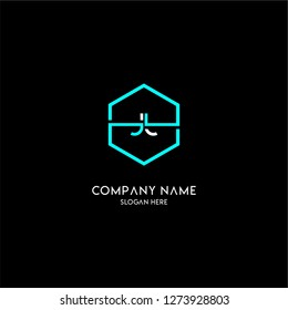 geometric hexagon jj logo type design concept in cyan and white colors