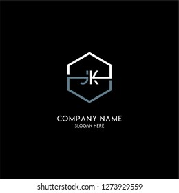 geometric hexagon jk logo type design concept in white and gray colors