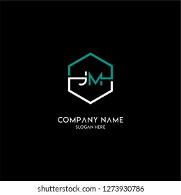 geometric hexagon logo jm type design concept in green and white colors