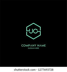 geometric hexagon UO logo letter design concept in turquoise color