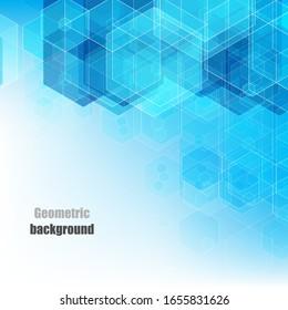 Geometric hexagonal blue background. Vector banner design. Brochure Template
