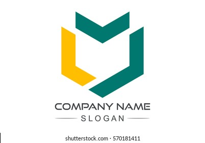 geometric hexagonal line military shield logo