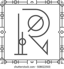 Geometric hipster art deco font-letter R