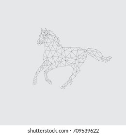 Geometric Horse. Black line vector illustration.