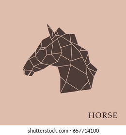 Geometric horse head  on a brown background. Side view. Vector illustration.