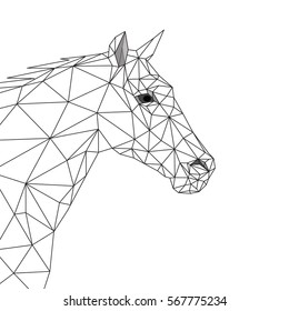Geometric horse, side view, black lines polygons and triangles design on white background,  vector file