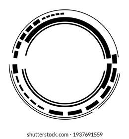 Geometric HUD, sc-fi GUI, UI circular element. Geometric circle, ring vector. Abstract crosshair, reticle, targetmark vector illustration
